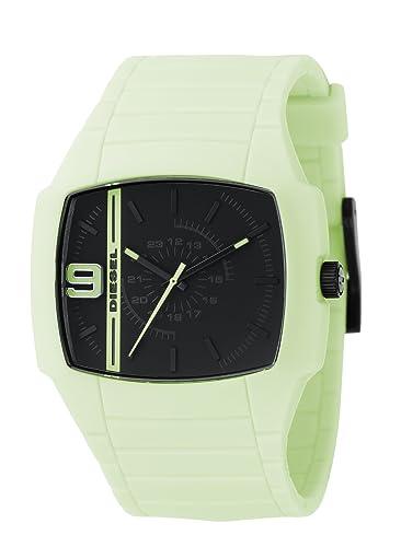 Diesel dz1327 Unisex brilla en la oscuridad correa de caucho y caso negro dial reloj: Amazon.es: Relojes
