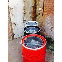 BBQ Grill Fass Grilltonne schwarz XXL Drum Garten ✔ rund ✔ stehend grillen ✔ Grillen mit Holzkohle