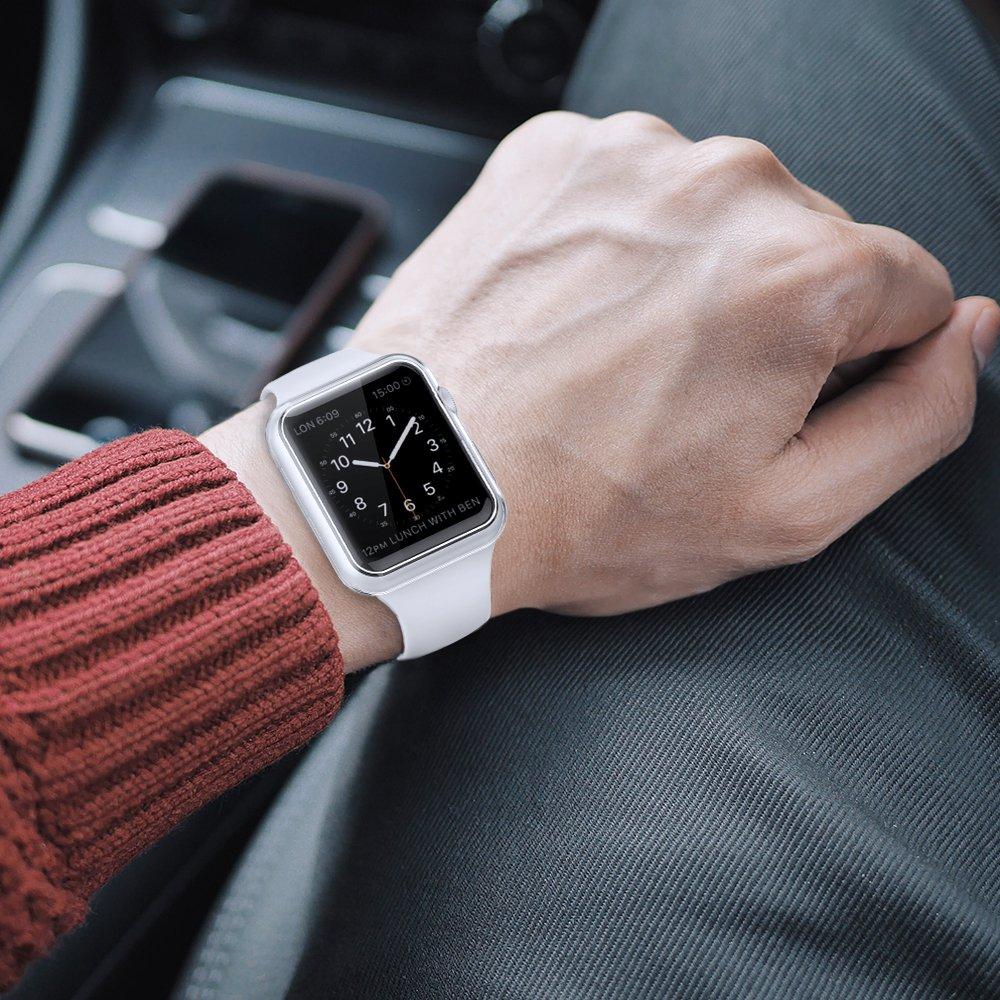 Simpeak Case Frame for Apple Watch 38mm,[5 Packs] Simpeak Slim Scratch Resistant Soft Case for 38mm Apple Watch Series 2,Transparent, Black, Gold, Rose Gold, Silver by Simpeak (Image #7)