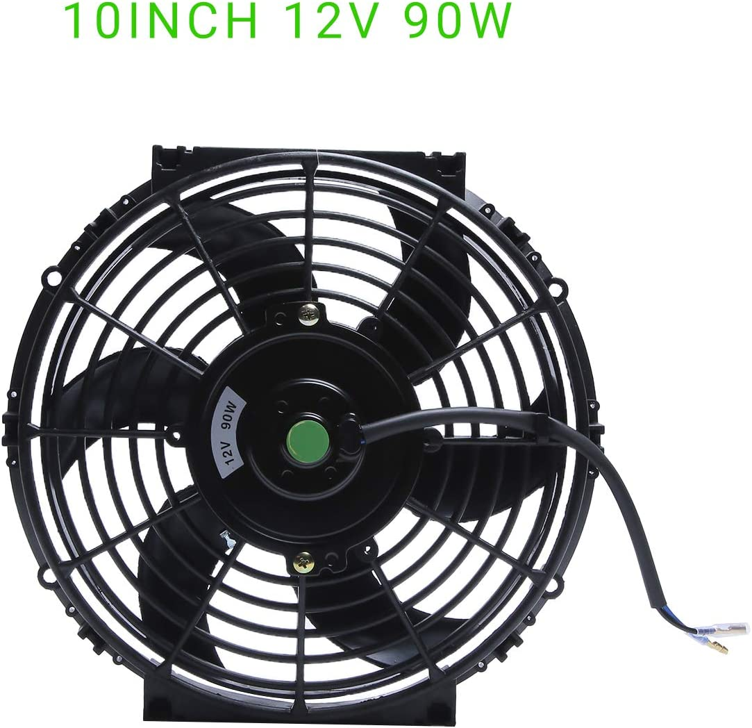 Engine Radiator Cooling Fan 10 Inch Curved Blade Ultra Thin Universal High Performance 12V 90W Motor,With Fan Mounting Kit(Puller and Pusher Design)