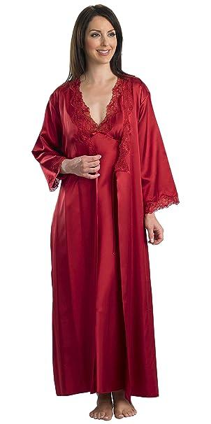 espléndidas Mujer Satén Bata con encaje y corbata, Rojo rojo X-Large: Amazon.es: Ropa y accesorios