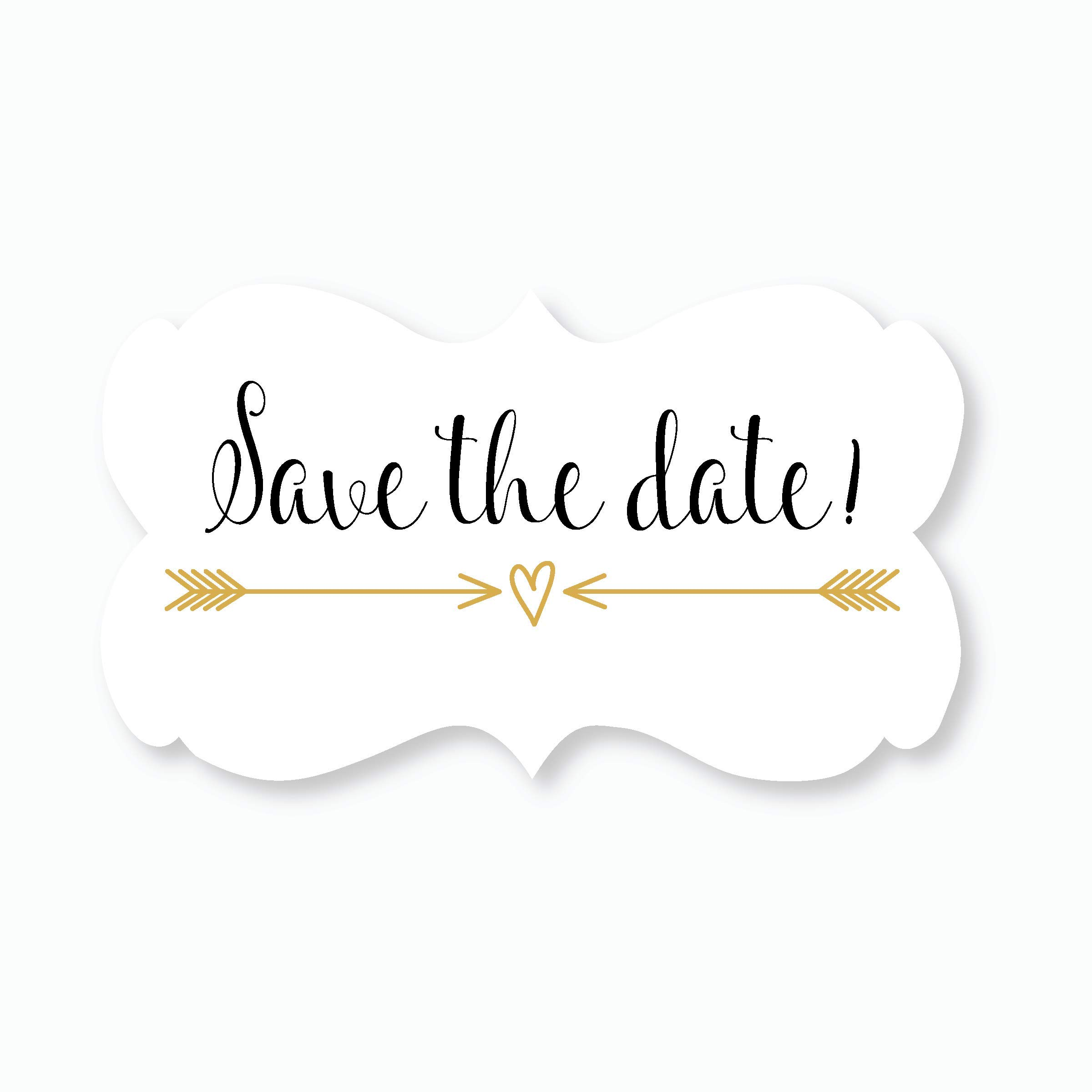 36ct - Save The Date Wedding Envelope Seals (#366) (Gold/Black)