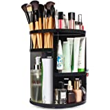 sanipoe 360 Rotating Makeup Organizer, DIY Adjustable Makeup Carousel Spinning Holder Storage Rack, Large Capacity Make up Caddy Shelf Cosmetics Organizer Box, Best for Countertop, Black