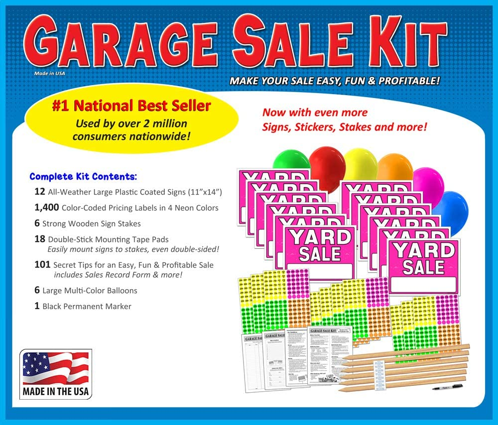 YARD SALE SIGNS /& PRE PRICED LABEL KIT Free Ship!