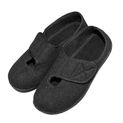 Cozy Ankle Men's Extra Wide Slippers for Swollen, Diabetic, Edema, Bunions, Adjustable Indoor/Outdoor House Shoes (10 D(M) US, Black) | Slippers