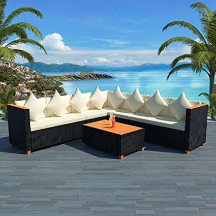 Amazon.com: Garden Sofa Set 25 Pieces Poly Rattan WPC Top ...