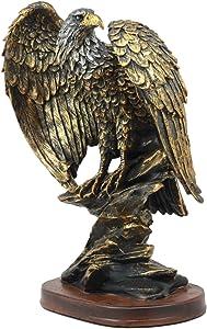 "Ebros 10.25"" Tall Patriotic Bald Eagle On Rocks Statue Wild Bird Eagle Decorative Bronze Patina Resin Figurine"
