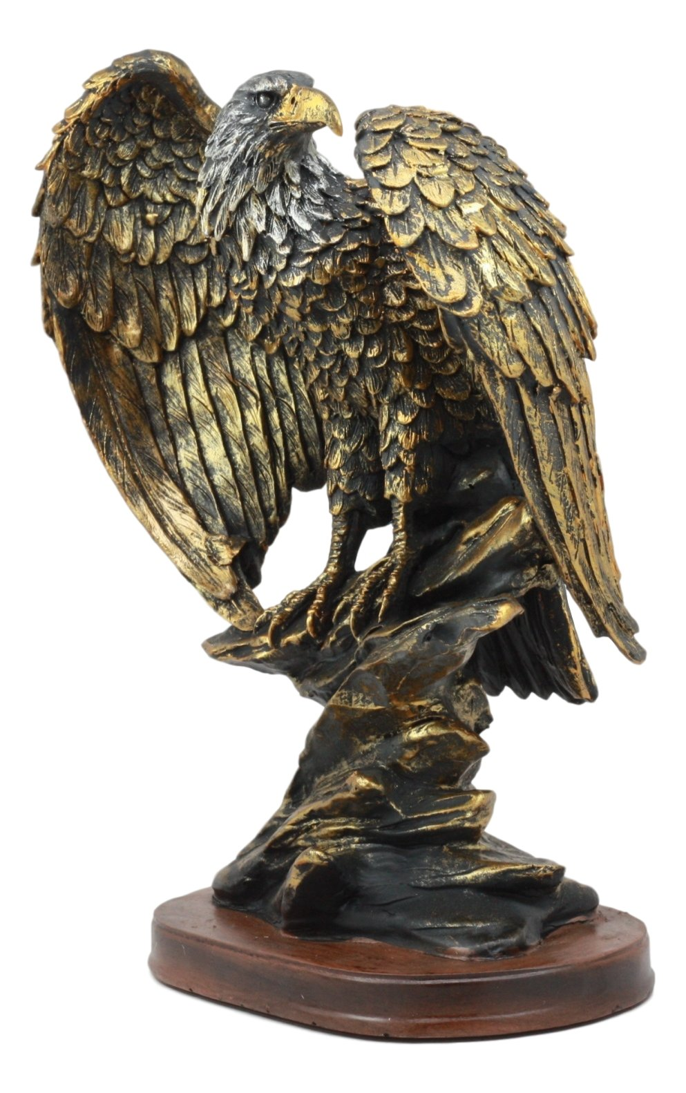 Ebros 10.25'' Tall Patriotic Bald Eagle On Rocks Statue Wild Bird Eagle Decorative Bronze Patina Resin Figurine