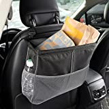 Kuelor Waterproof Car Trash Can, Leakproof Auto Garbage Bag for Litter with 3 Mesh Pockets, Collapsible Storage Organizer, Black