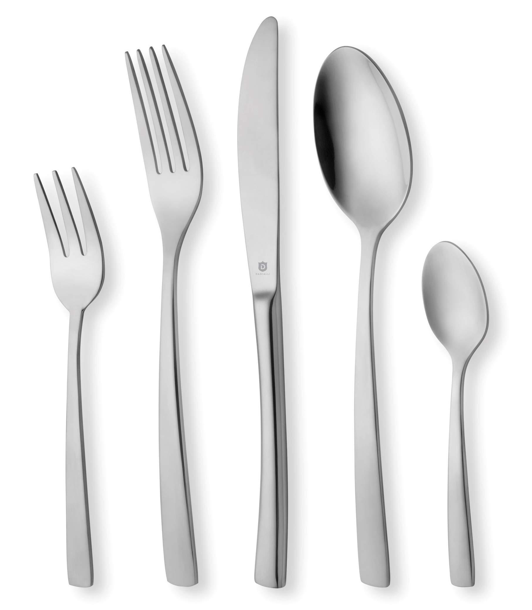 DANIALLI 30-Piece Flatware Set For 6, Modern Sleek Design Silverware Set, 18 10 Stainless Steel Utensils, Include Knife/Fork/Spoon, Mirror Polished Set of Cutlery, Dishwasher Safe