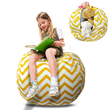 Pleasant Extra Large Stuffed Animal Storage Bean Bag 100 Cotton Canvas Kids Toy Storage Zipper Bag Clean Up Your Room And Play Area 38 Inch Squirreltailoven Fun Painted Chair Ideas Images Squirreltailovenorg