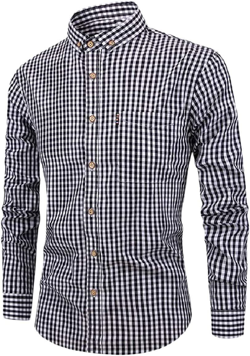 RDHOPE-Men Breathable Comfy Long-Sleeve Plaid Blouses and Tops Shirts