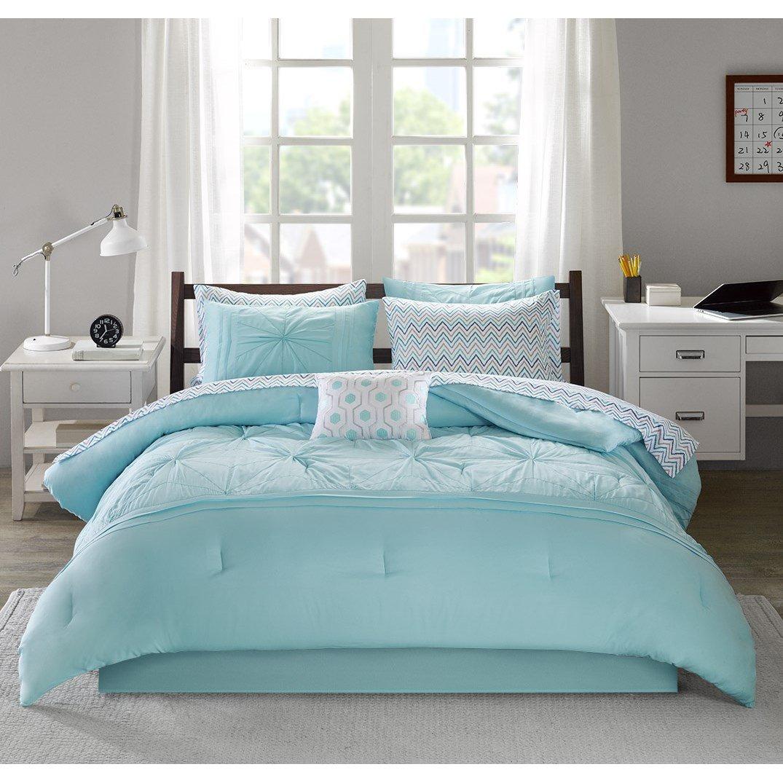 Intelligent Design Toren Comforter Set Queen Size Bed in A Bag - Aqua, Medallion – 9 Piece Bed Sets – Ultra Soft Microfiber Teen Bedding for Girls Bedroom