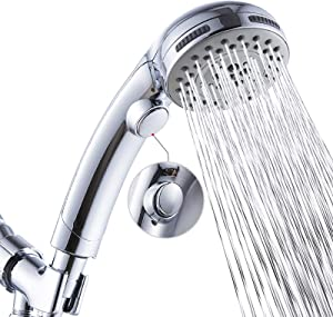 High Pressure 6 Setting Shower Head Hand-Held with ON/OFF Switch and Spa Spray Mode - Hand Held Shower Head with Handheld Spray - Shower Head with Hose - Chrome