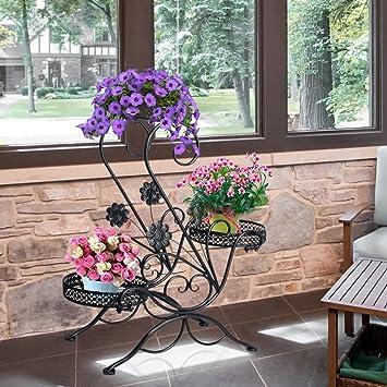 Flor soporte para 3 macetas, 3 pisos, diseño decorativo., metal, Jardín