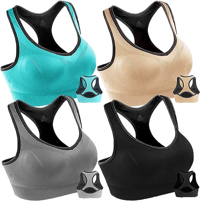 Amazon.com: Paquete de 4 sujetadores deportivos para mujer ...