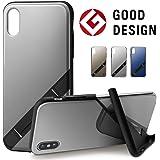 【Campino】(Mirror) iPhone XS/X ケース OLE stand スタンド機能 耐衝撃 スリム 動画 【国内正規代理店】 (Silver)