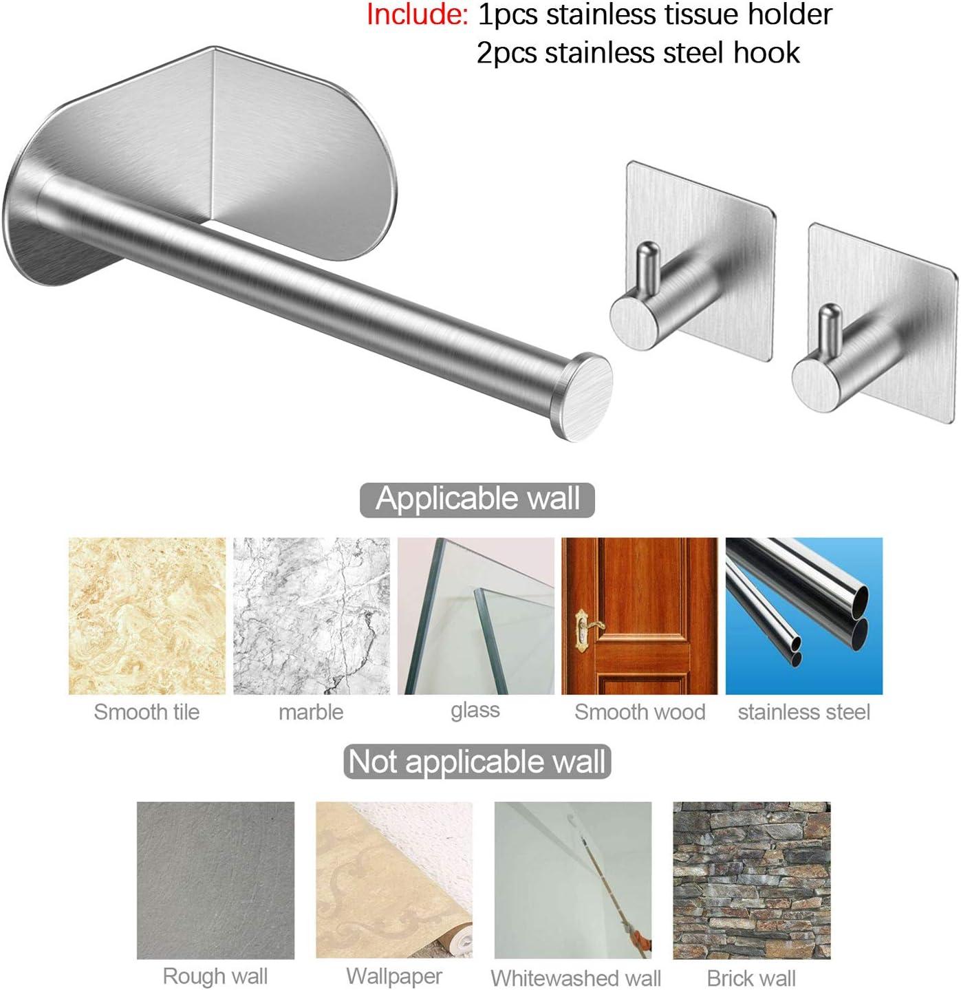 no requiere perforaci/ón fuerte adhesivo y resistente al agua para ba/ño y accesorios de cocina autoadhesivo Portarrollos de papel de acero inoxidable Ousuga 308