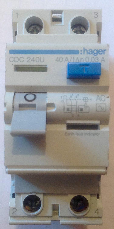 Hager CDC240U 40A 30mA RCCB