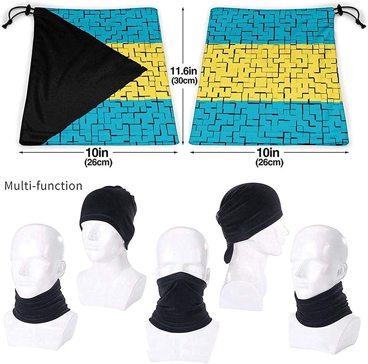 The Bahamas Flag Puzzle Microfiber Neck Warmer Balaclavas Soft Fleece Headwear Face Scarf Mask for Winter