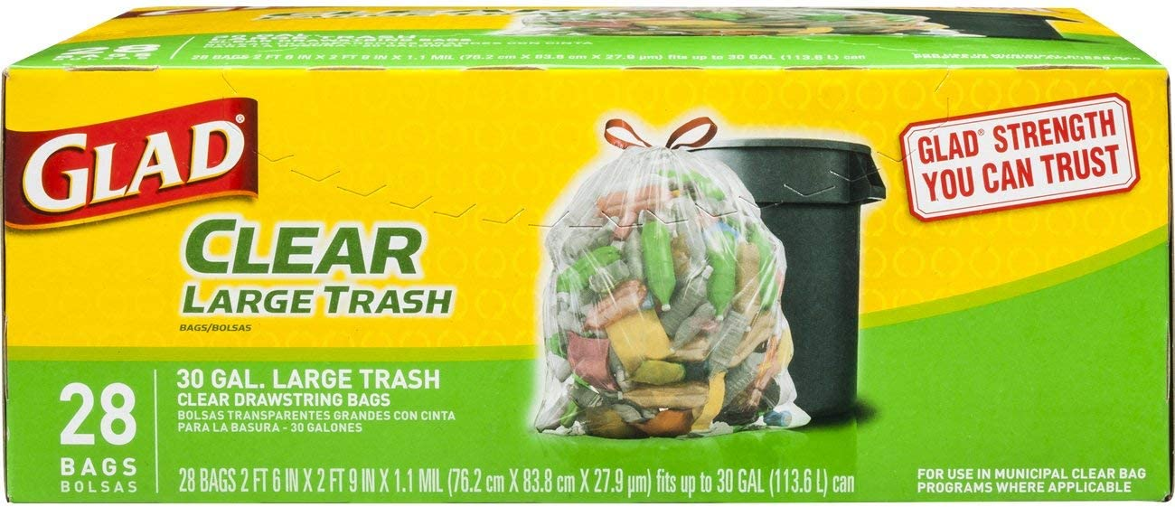 Glad Large Drawstring Max 84% OFF Award Recycling Bags - Bag 30 Trash Gallon Clear