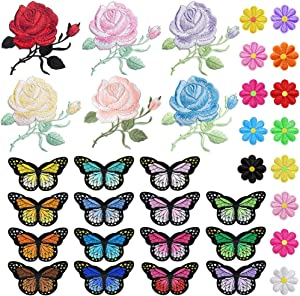 PGMJ 47pcs Embroidery Applique Patches Rose Flowers Butterfly Sunflowers Iron On Patches for Jackets, Jeans, Bags, Clothing, Arts Crafts DIY Decoration