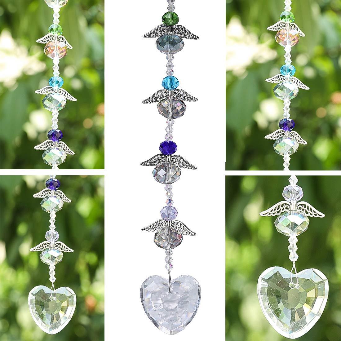 H/&D Kristall Handschleifer Anh/änger//h/ängend//Pendel mit klarem Herz und 4 kleinen Engeln um als Fenster Dekoration und Raumpendel zu h/ängen
