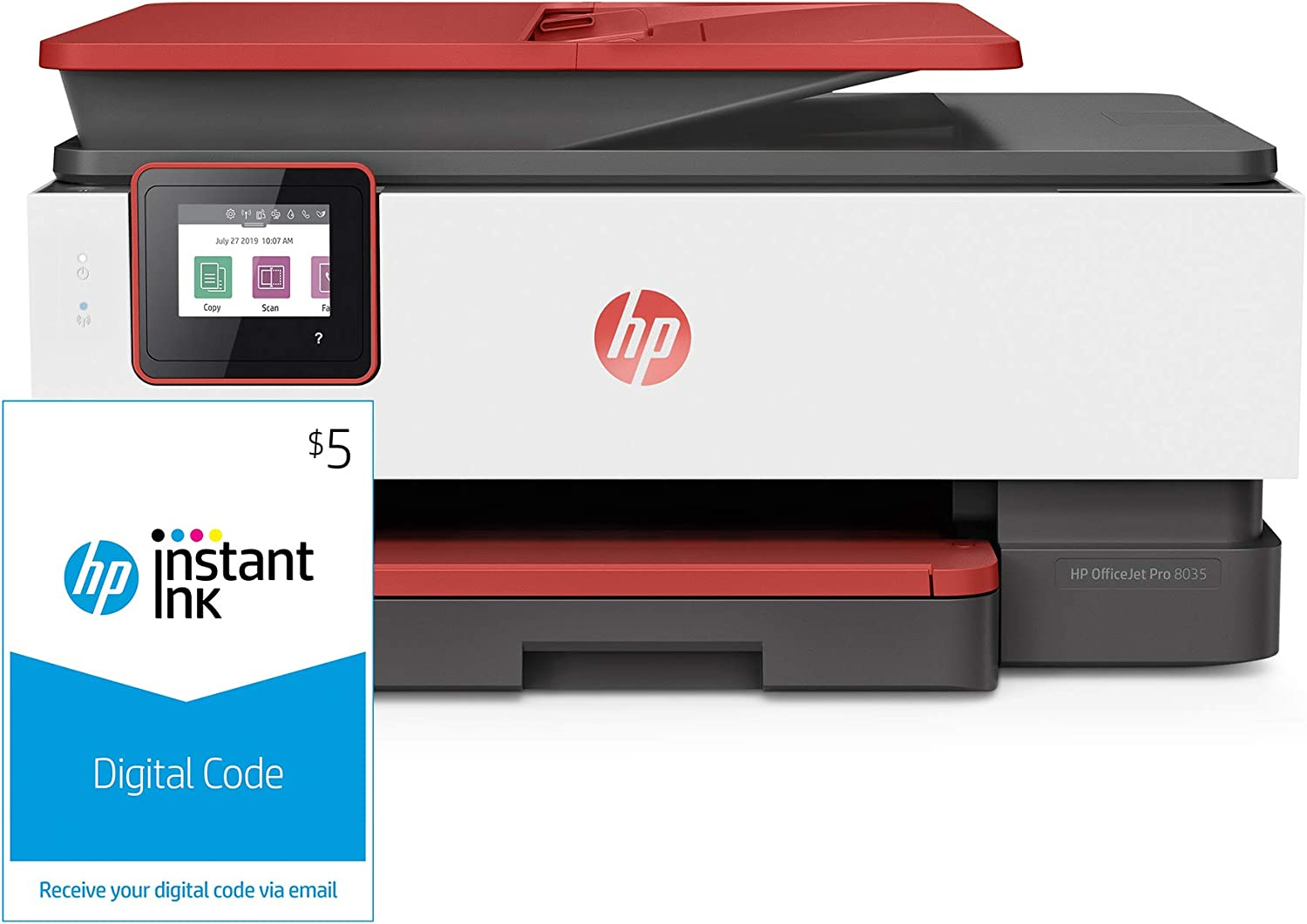 HP OfficeJet Pro 8035 All-in-One Wireless Printer, Coral (4KJ65A) and Instant Ink $5 Prepaid Code