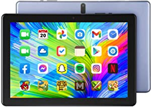 Tablet 10.1 inch Android 10 Tablet, 4GB RAM, 64GB Storage, IPS HD 1280X800, 1.5GHz Quad-Core Processor, Dual Band Wi-Fi, Bluetooth, 5000mAh Battery Life, 2 MP Front Mount and 13MP Rear Mount, Grey