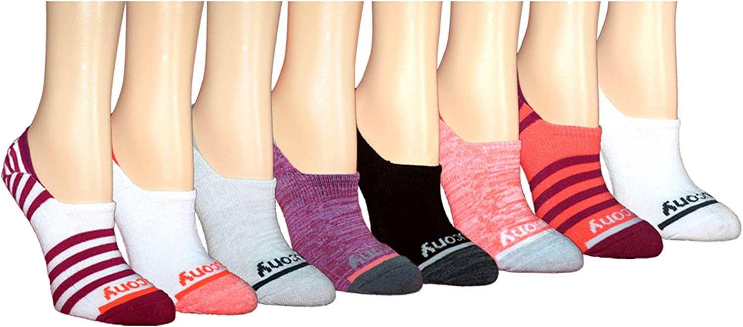 Saucony Women's 8-pair No Show Cushioned Invisible Liner Socks at  Women's Clothing store
