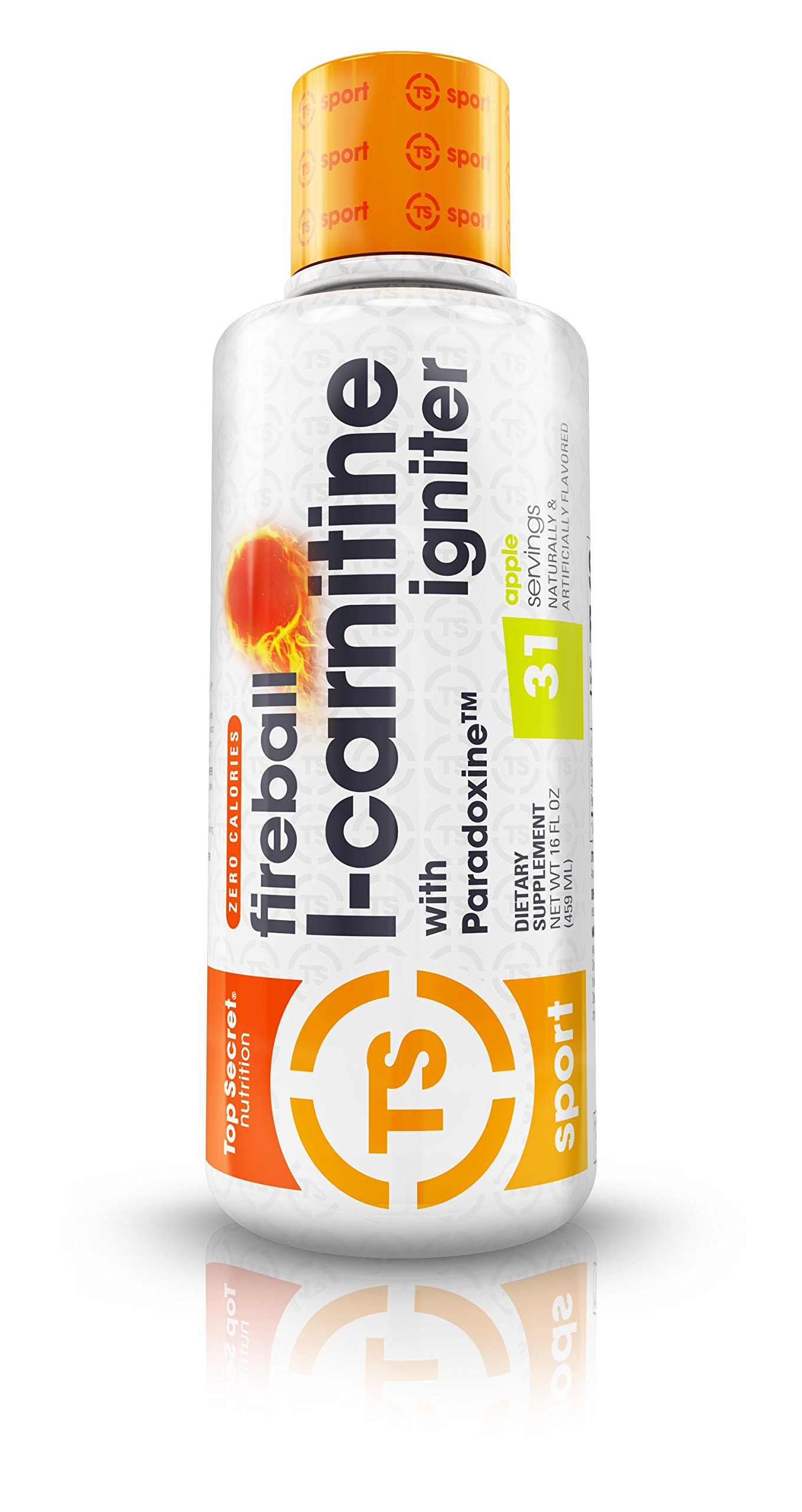 Top Secret Nutrition Fireball L-Carnitine Liquid Fat Burning Weight Loss Supplement with Paradoxine (16 oz) Apple