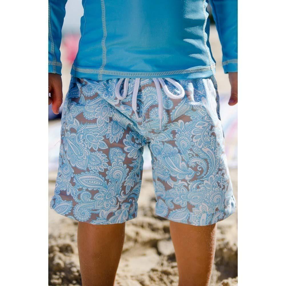 Sun Emporium Baby Boys Aqua Taupe Paisley Sun Protective Board Shorts 6-18M