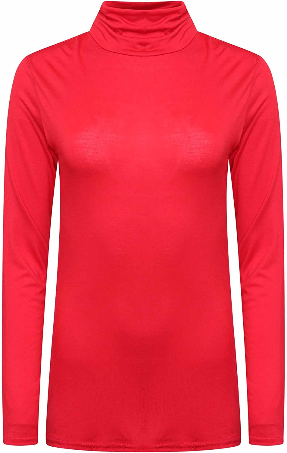 LVL Online Store Ladies Womens Polo Neck Top Stretch Long Sleeve Turtle Neck Top Jumper 8-26