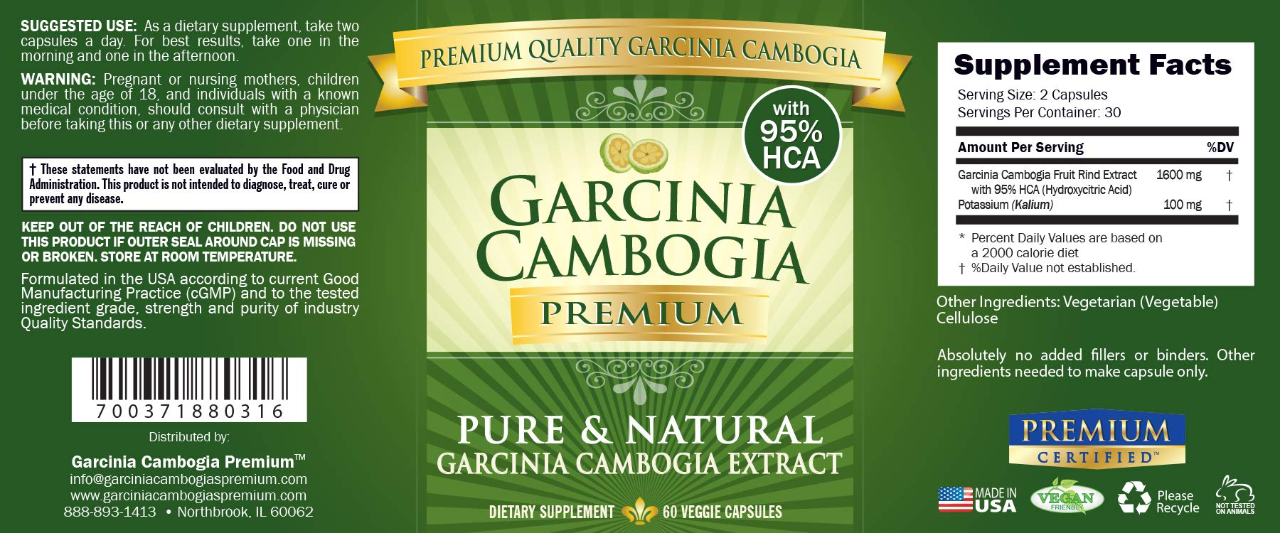 Garcinia Cambogia Premium 95% HCA - Best Natural Weight Loss, Quick Fat Burner and Appetite Suppressant - 180 Vegan Capsules, 3 Months Supply - 100% Money Back Guarantee! by Garcinia Cambogia Premium (Image #3)