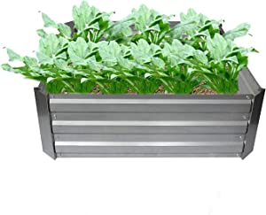 4W Raised Garden Bed Galvanized Steel Planter Box Outdoor Metal Garden Bed Kit for Vegetable, Herbs, Flowers, and Much More - L34 x W34 x H12