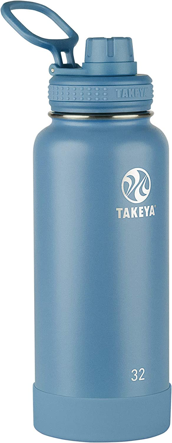 Takeya Actives Insulated Water Bottle w/Spout Lid, Bluestone, 32 Ounce