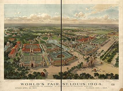 Amazon.com: Vintage 1904 Map of World\'s Fair, St Louis, 1904 ...