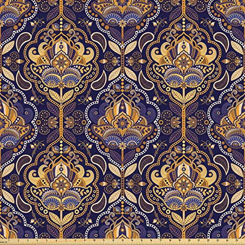 Ambesonne Asian Fabric by The Yard, Oriental Antique Pattern Foliage Inspirations Geometrical Design, Stretch Knit Fabric for Clothing Sewing and Arts Crafts, 10 Yards, Yellow Purple from Ambesonne