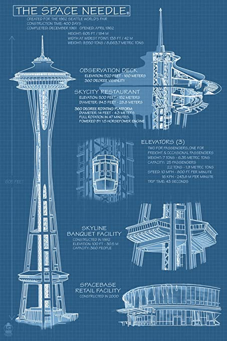 Amazon space needle technical drawing blueprint 12x18 art space needle technical drawing blueprint 12x18 art print wall decor travel poster malvernweather Images