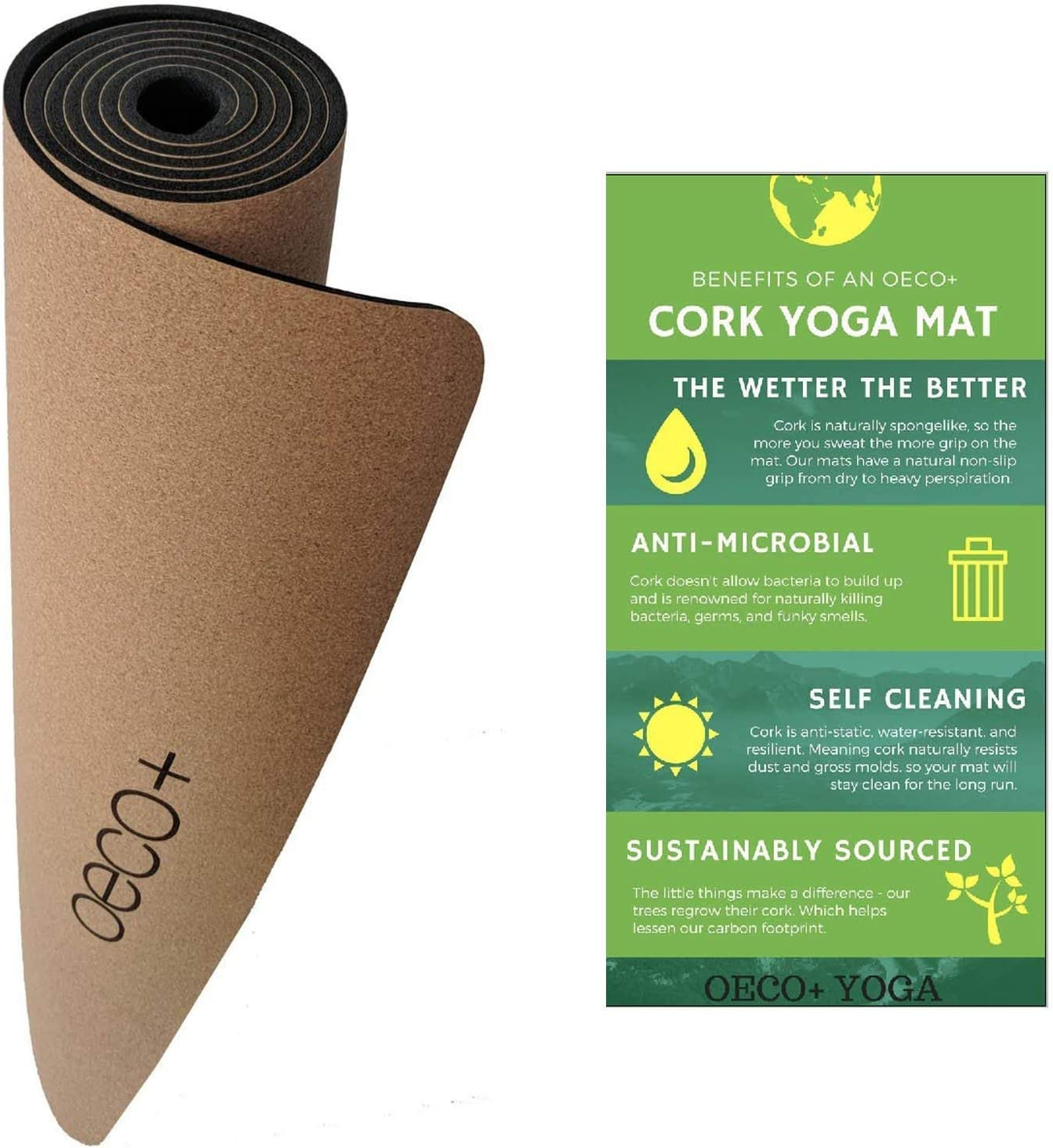 Oeco Plus Premium Cork Yoga Mat (72