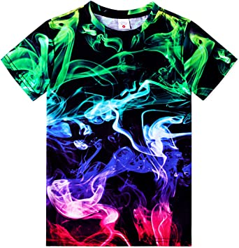 TUONROAD Original Boys Girls T-Shirt 3D Graphic Novelty Kids Teens Shirt Elastic Smooth Tee for 6-16 Years