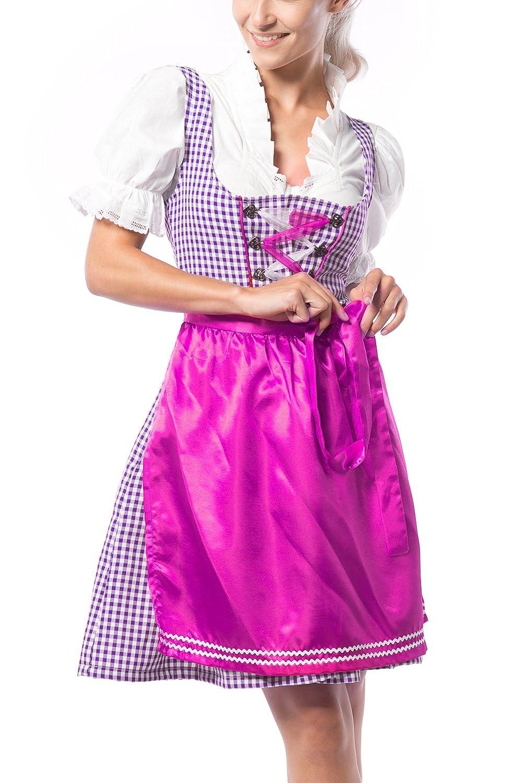 Partychimp Damen Dirndl Birgit Violett/Blau mit einer Bluße und Schürze, größe 36-46