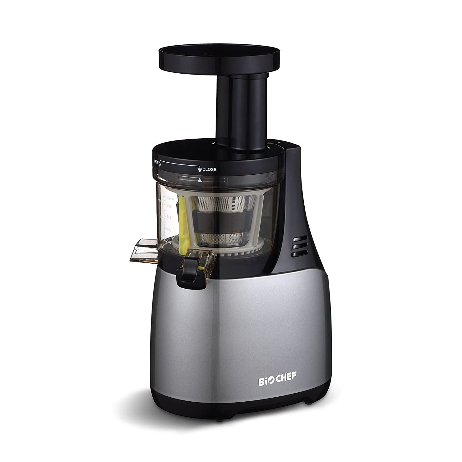 BioChef Synergy Slow Juicer, 150W, Masticating Fruit & Vegetable Slow Juicer, Quiet Motor with 10 Year Warranty (Silver)