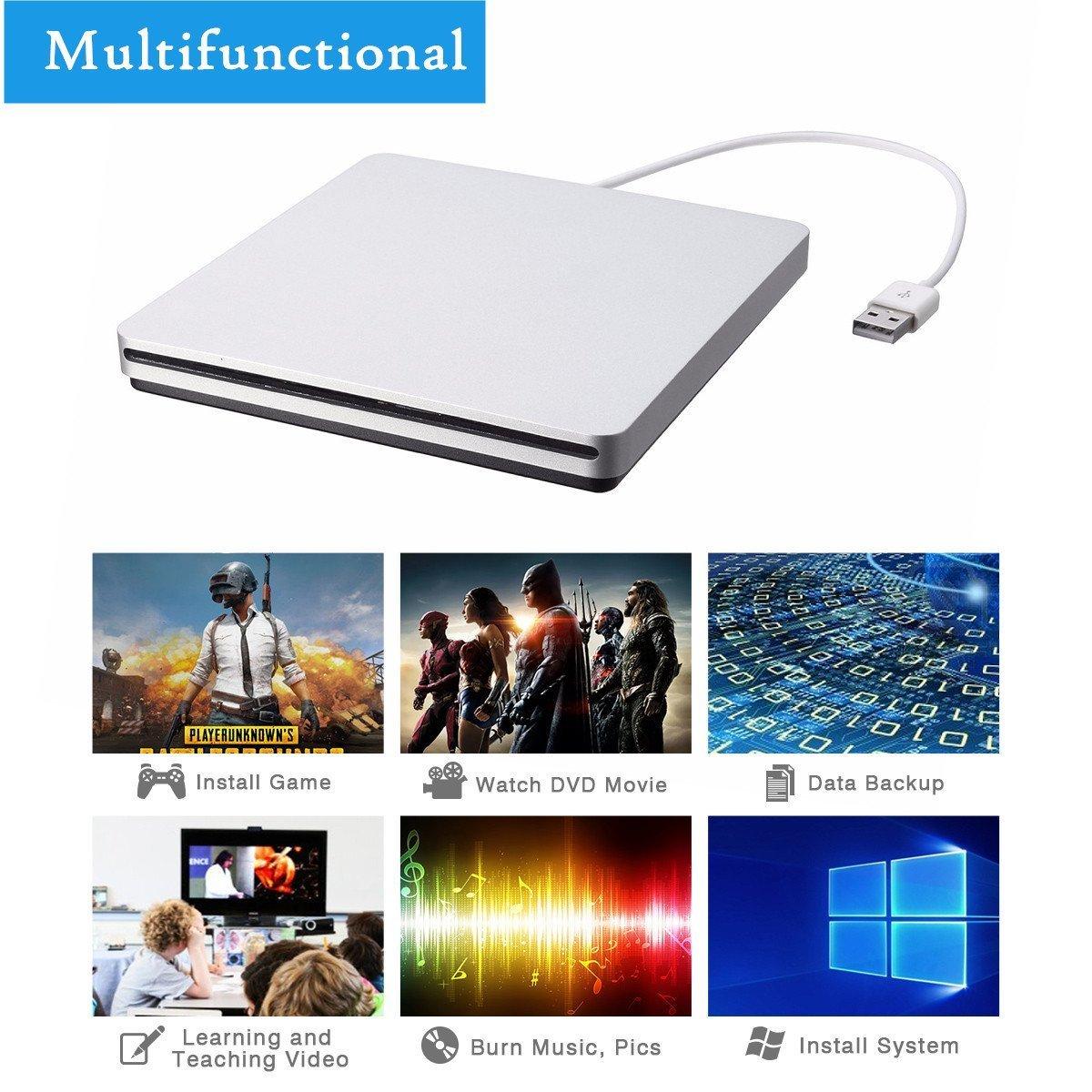 External CD DVD Drive,ONCHOICE USB 2.0 External Disc Optical Drive, Slim CD/DVD-RW Writer Player Burner for Windows OS, Laptop Desktop PC by ONCHOICE (Image #3)