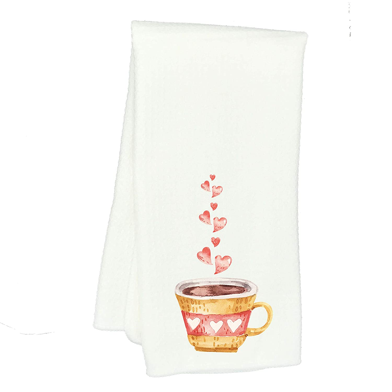 Watercolor Valentine Coffee Tea Cup with Hearts Waffle Weave Kitchen Towel Drying Cloth 16inch X 24inch White
