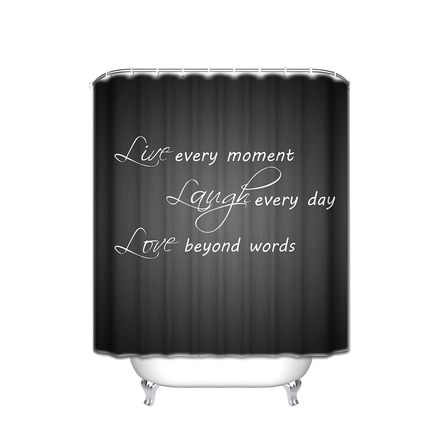 Prime Leader Inspirational Motto Laugh Every Day Black Background Waterproof Fabric Shower Curtain,72''(w) x 84''(h) Extra Long Bath Decorations Sets with Hooks by Prime Leader