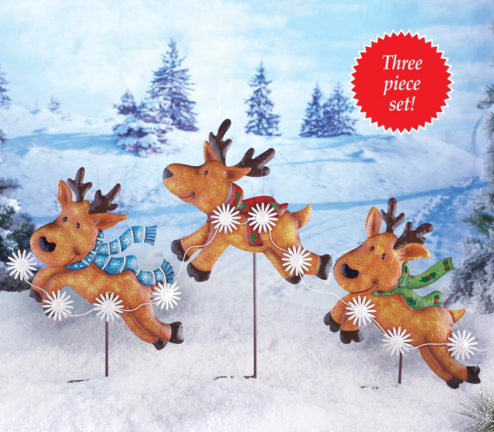 amazoncom set of 3 whimsical cute festive metal reindeer wearing scarves snowflake harness christmas outdoor yard decoration garden outdoor - Metal Reindeer Christmas Decorations