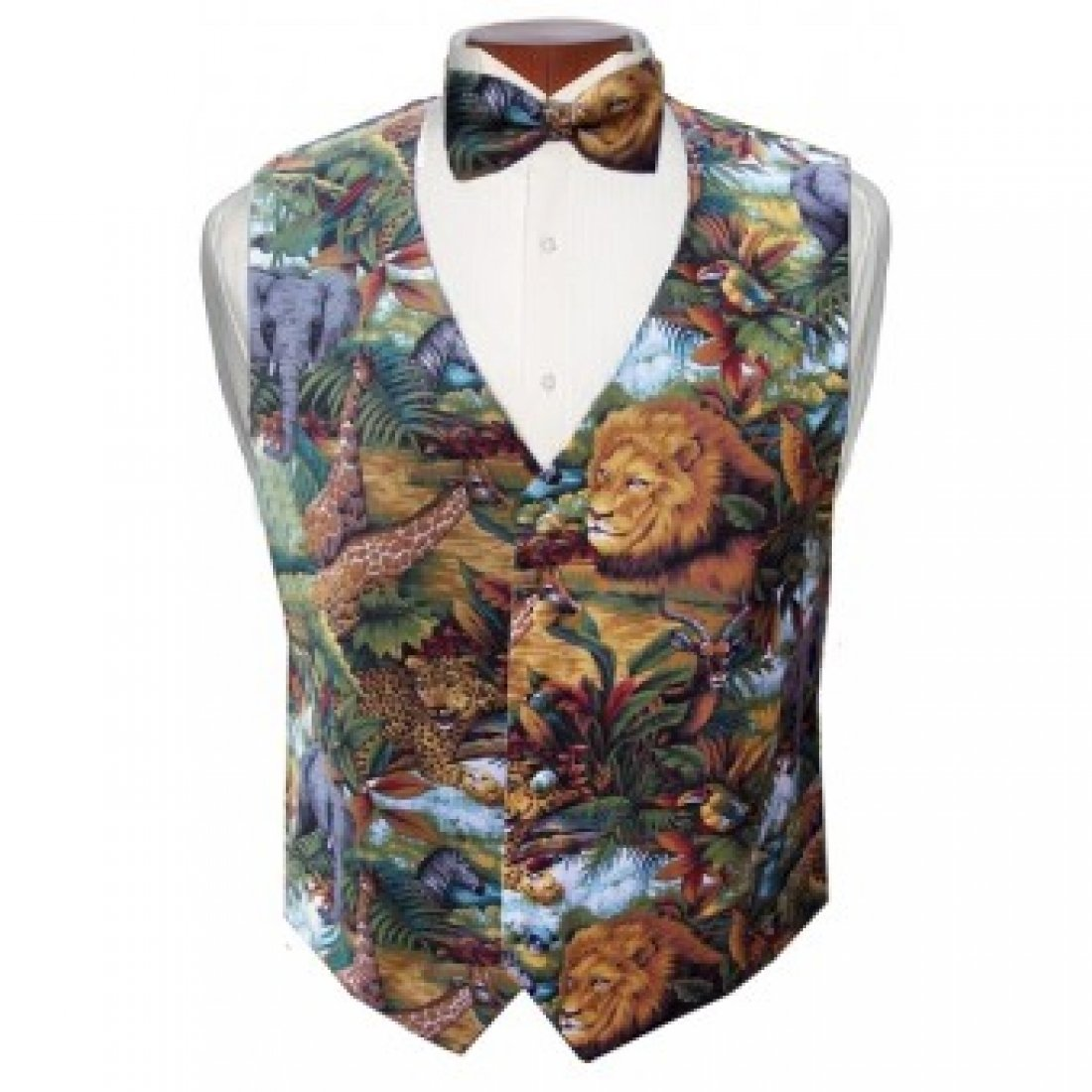 King of the Jungle Tuxedo Vest and Bow Tie Size XXLarge