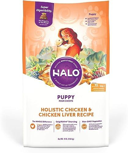 Halo Natural Dry Dog Food, Puppy Chicken Chicken Liver Recipe