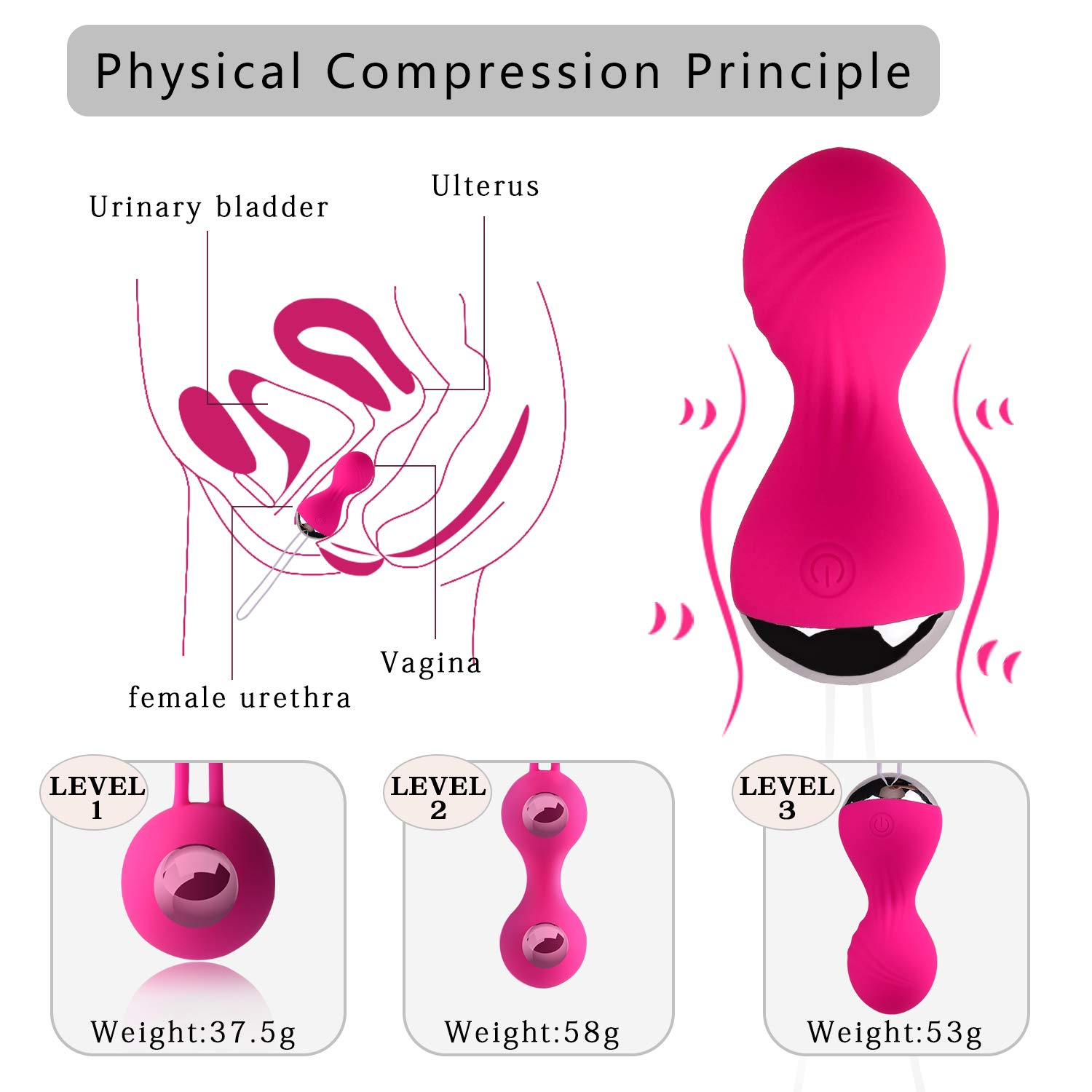 Kegel Exercise Weights for Women - Kegel Balls for Beginners & Advanced Pelvic Floor Exercises, Silicone Kegel Balls with Vibration & 3 Weights for Regaining Bladder Control